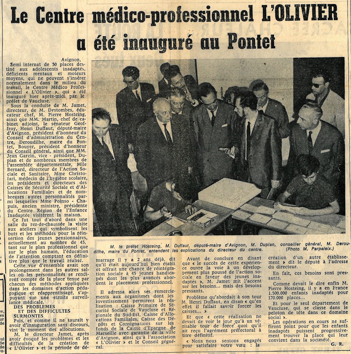 Article 1 Inauguration CMPRO Olivier (Juin 1966)